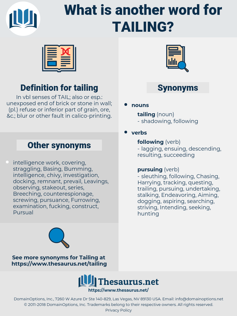 tailing, synonym tailing, another word for tailing, words like tailing, thesaurus tailing