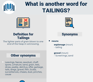 Tailings, synonym Tailings, another word for Tailings, words like Tailings, thesaurus Tailings