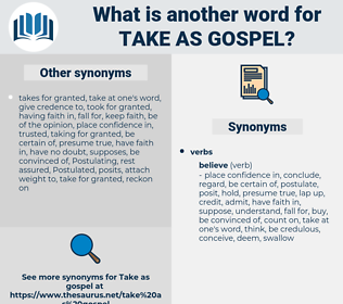 take as gospel, synonym take as gospel, another word for take as gospel, words like take as gospel, thesaurus take as gospel