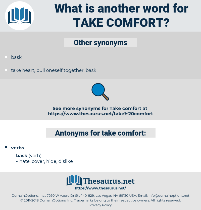 take comfort, synonym take comfort, another word for take comfort, words like take comfort, thesaurus take comfort
