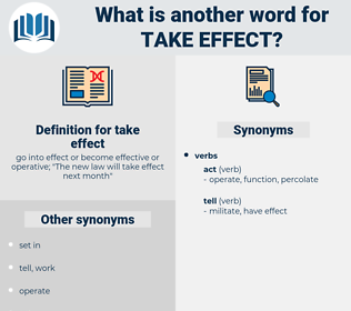 take effect, synonym take effect, another word for take effect, words like take effect, thesaurus take effect