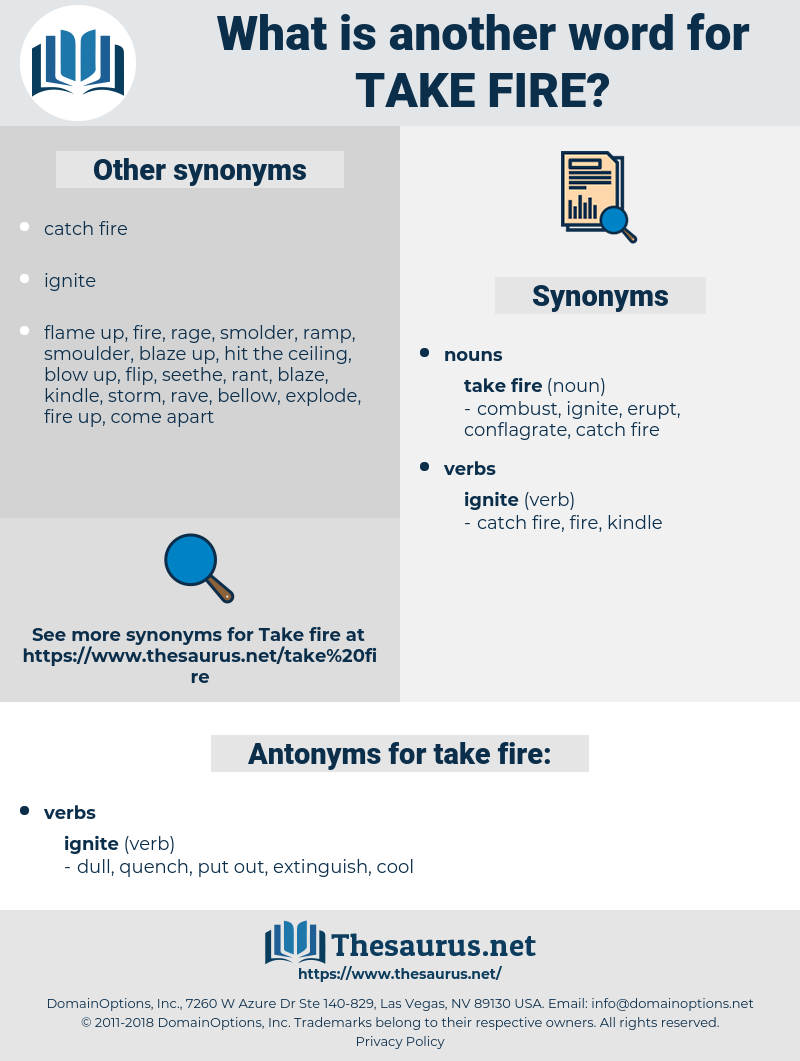 take fire, synonym take fire, another word for take fire, words like take fire, thesaurus take fire
