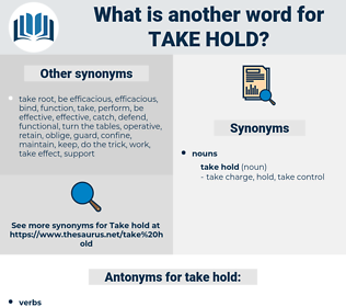 take hold, synonym take hold, another word for take hold, words like take hold, thesaurus take hold