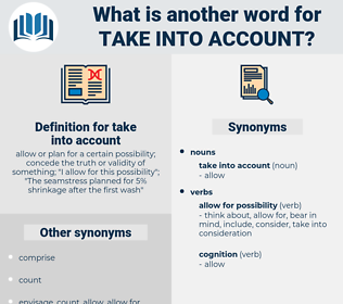 take into account, synonym take into account, another word for take into account, words like take into account, thesaurus take into account