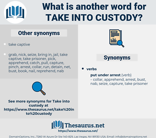 take into custody, synonym take into custody, another word for take into custody, words like take into custody, thesaurus take into custody
