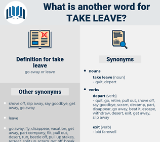take leave, synonym take leave, another word for take leave, words like take leave, thesaurus take leave
