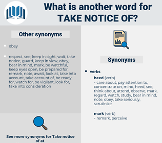 take notice of, synonym take notice of, another word for take notice of, words like take notice of, thesaurus take notice of