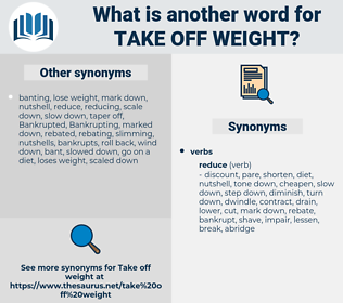 take off weight, synonym take off weight, another word for take off weight, words like take off weight, thesaurus take off weight