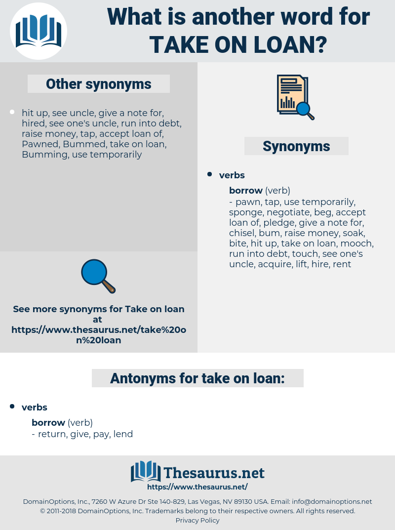 take on loan, synonym take on loan, another word for take on loan, words like take on loan, thesaurus take on loan