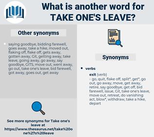 take one's leave, synonym take one's leave, another word for take one's leave, words like take one's leave, thesaurus take one's leave