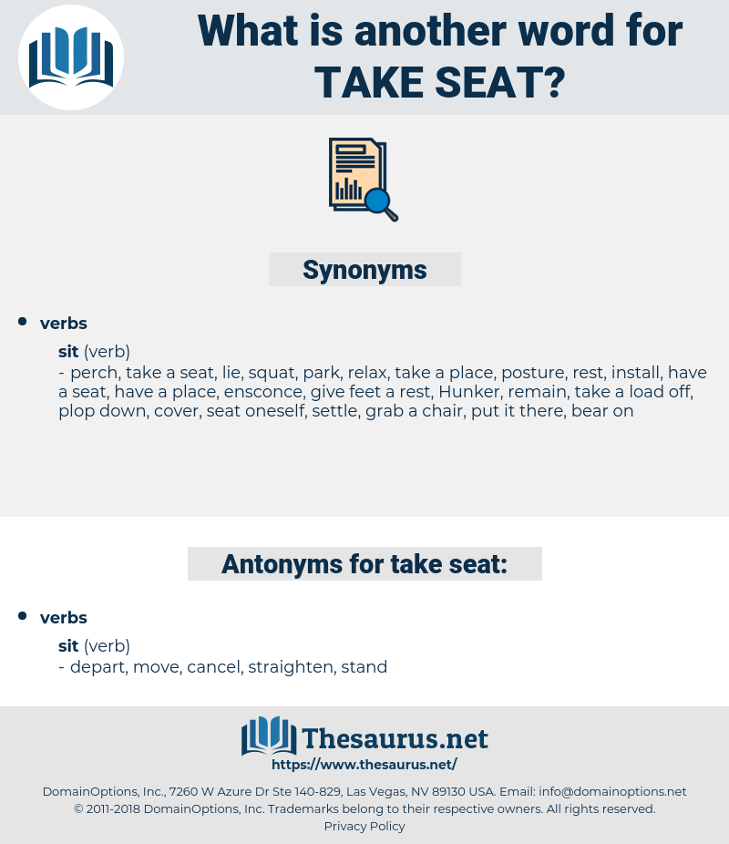 take seat, synonym take seat, another word for take seat, words like take seat, thesaurus take seat
