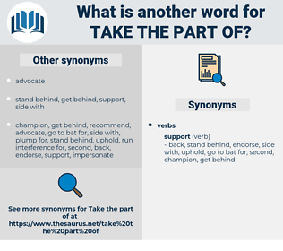 take the part of, synonym take the part of, another word for take the part of, words like take the part of, thesaurus take the part of