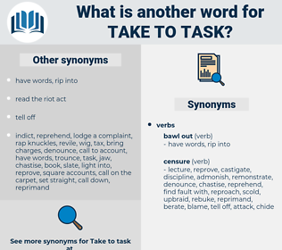 take to task, synonym take to task, another word for take to task, words like take to task, thesaurus take to task