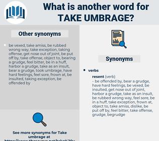 take umbrage, synonym take umbrage, another word for take umbrage, words like take umbrage, thesaurus take umbrage