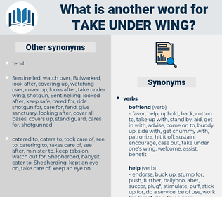 take under wing, synonym take under wing, another word for take under wing, words like take under wing, thesaurus take under wing