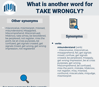 take wrongly, synonym take wrongly, another word for take wrongly, words like take wrongly, thesaurus take wrongly