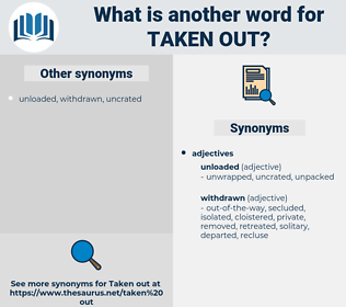 taken out, synonym taken out, another word for taken out, words like taken out, thesaurus taken out