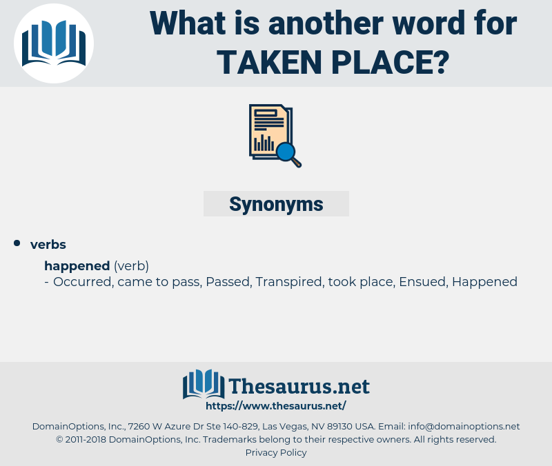 taken place, synonym taken place, another word for taken place, words like taken place, thesaurus taken place