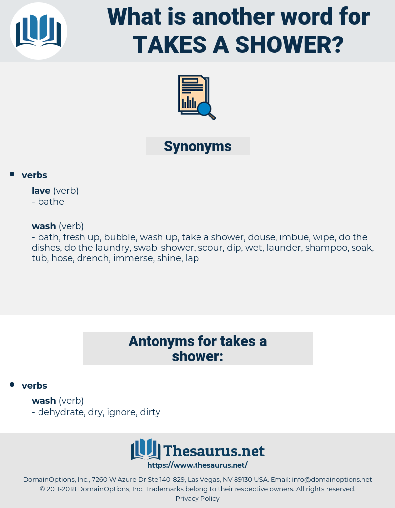 takes a shower, synonym takes a shower, another word for takes a shower, words like takes a shower, thesaurus takes a shower