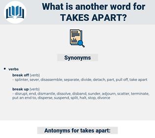 takes apart, synonym takes apart, another word for takes apart, words like takes apart, thesaurus takes apart