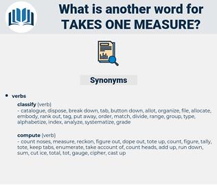 takes one measure, synonym takes one measure, another word for takes one measure, words like takes one measure, thesaurus takes one measure