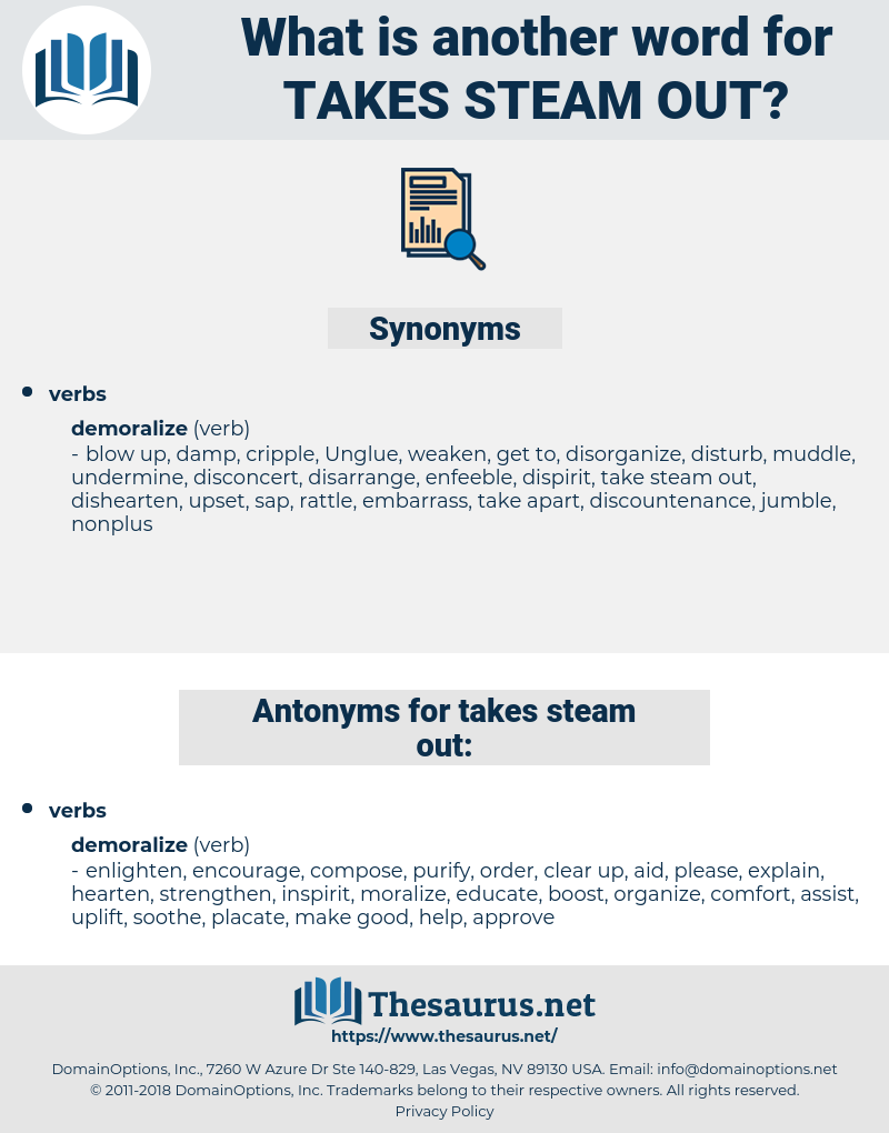 takes steam out, synonym takes steam out, another word for takes steam out, words like takes steam out, thesaurus takes steam out