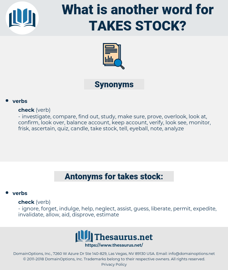 takes stock, synonym takes stock, another word for takes stock, words like takes stock, thesaurus takes stock