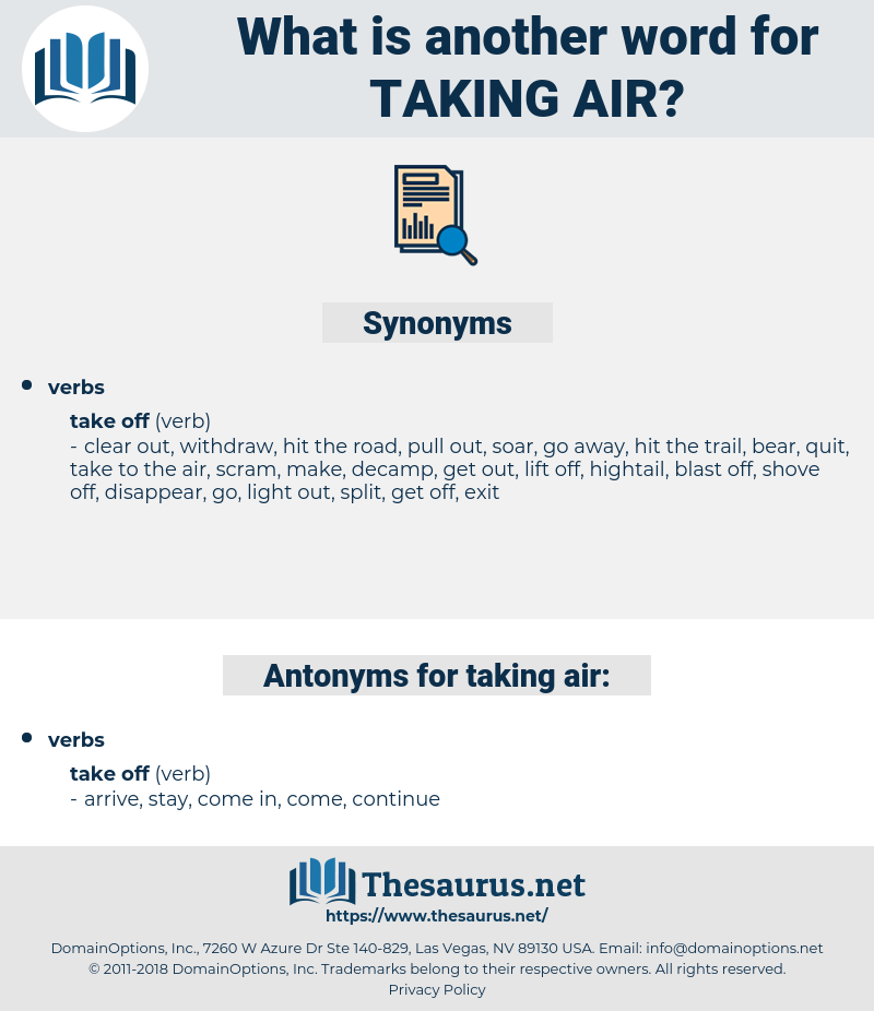 taking air, synonym taking air, another word for taking air, words like taking air, thesaurus taking air