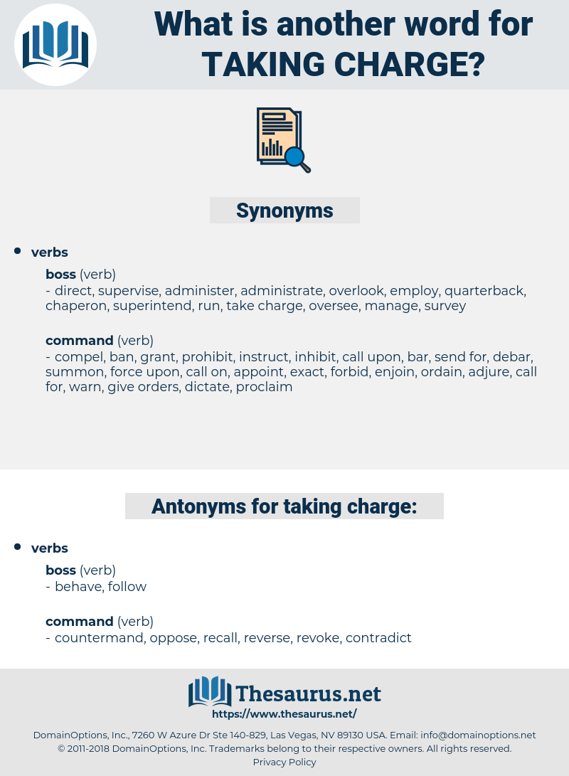 taking charge, synonym taking charge, another word for taking charge, words like taking charge, thesaurus taking charge
