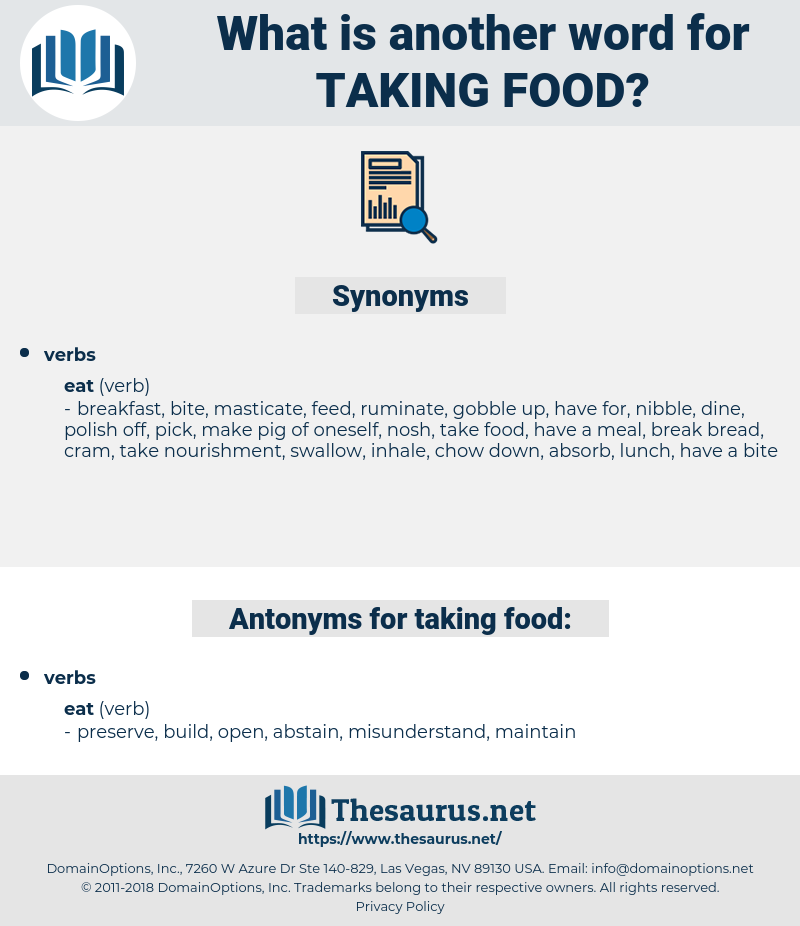 taking food, synonym taking food, another word for taking food, words like taking food, thesaurus taking food