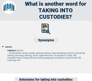 taking into custodies, synonym taking into custodies, another word for taking into custodies, words like taking into custodies, thesaurus taking into custodies