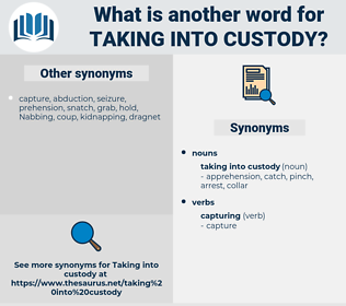 taking into custody, synonym taking into custody, another word for taking into custody, words like taking into custody, thesaurus taking into custody