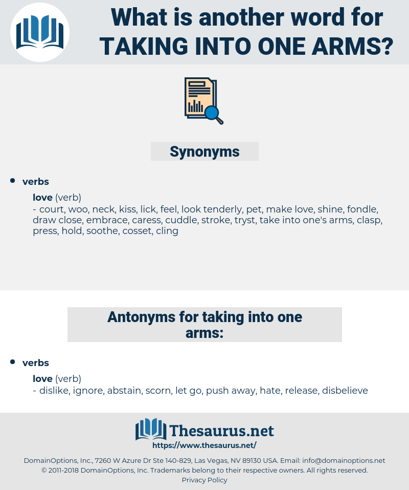 taking into one arms, synonym taking into one arms, another word for taking into one arms, words like taking into one arms, thesaurus taking into one arms