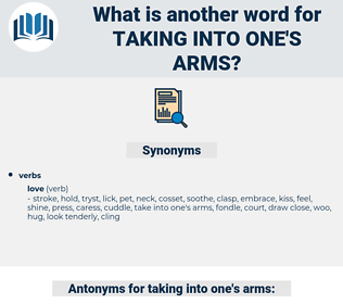 taking into one's arms, synonym taking into one's arms, another word for taking into one's arms, words like taking into one's arms, thesaurus taking into one's arms