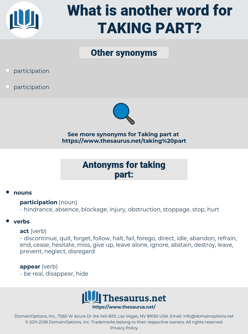 taking part, synonym taking part, another word for taking part, words like taking part, thesaurus taking part