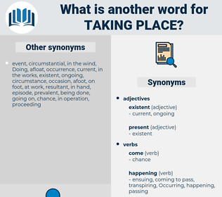 taking place, synonym taking place, another word for taking place, words like taking place, thesaurus taking place