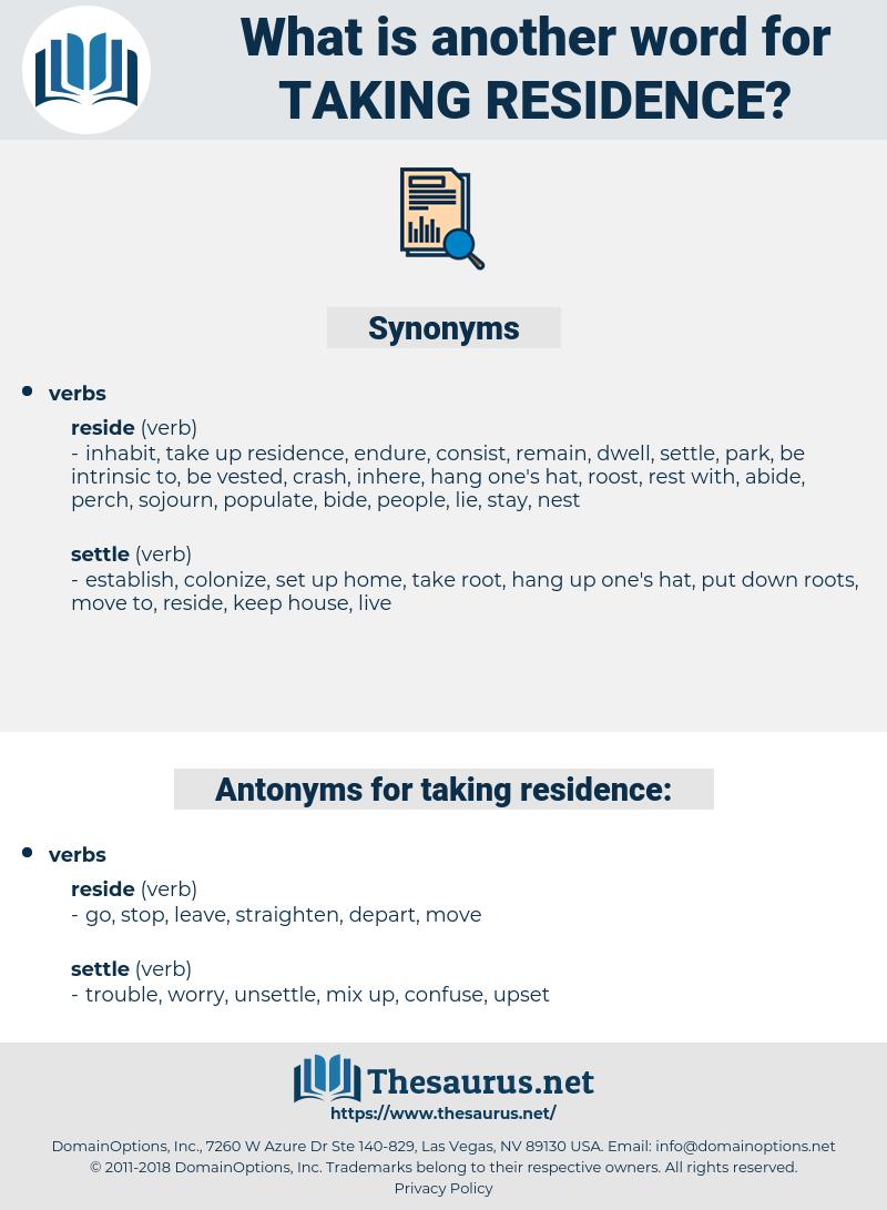 taking residence, synonym taking residence, another word for taking residence, words like taking residence, thesaurus taking residence