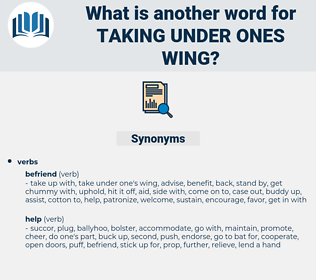 taking under ones wing, synonym taking under ones wing, another word for taking under ones wing, words like taking under ones wing, thesaurus taking under ones wing