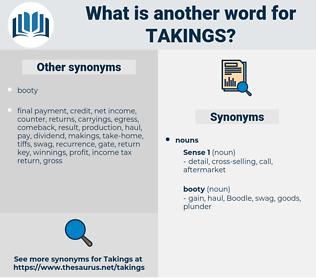 takings, synonym takings, another word for takings, words like takings, thesaurus takings