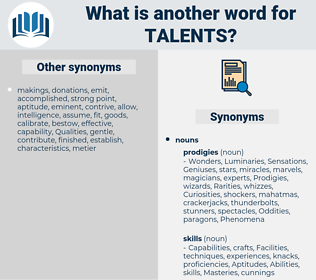 Talents, synonym Talents, another word for Talents, words like Talents, thesaurus Talents