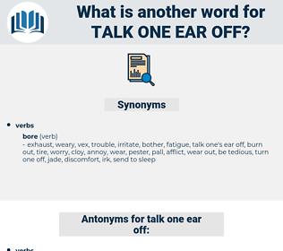 talk one ear off, synonym talk one ear off, another word for talk one ear off, words like talk one ear off, thesaurus talk one ear off