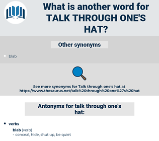 talk through one's hat, synonym talk through one's hat, another word for talk through one's hat, words like talk through one's hat, thesaurus talk through one's hat