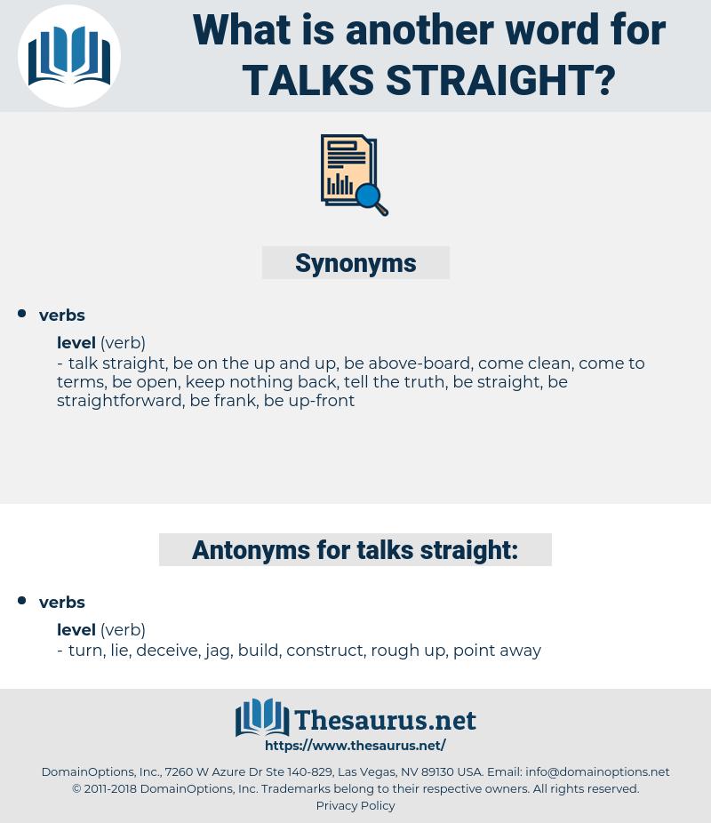 talks straight, synonym talks straight, another word for talks straight, words like talks straight, thesaurus talks straight