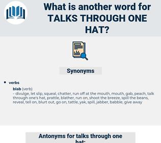 talks through one hat, synonym talks through one hat, another word for talks through one hat, words like talks through one hat, thesaurus talks through one hat