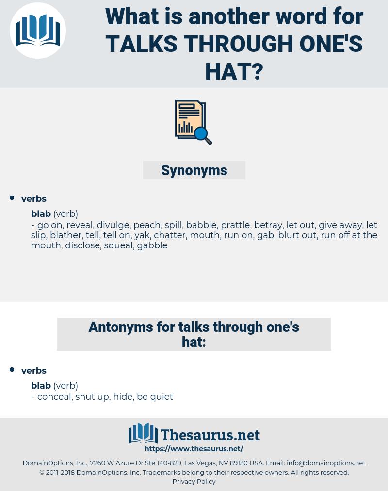 talks through one's hat, synonym talks through one's hat, another word for talks through one's hat, words like talks through one's hat, thesaurus talks through one's hat