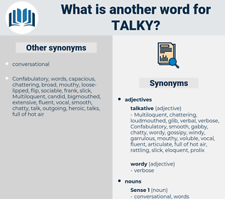 talky, synonym talky, another word for talky, words like talky, thesaurus talky