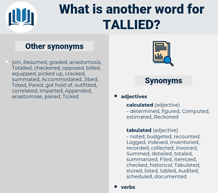 Tallied, synonym Tallied, another word for Tallied, words like Tallied, thesaurus Tallied