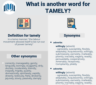 tamely, synonym tamely, another word for tamely, words like tamely, thesaurus tamely
