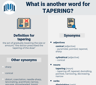 tapering, synonym tapering, another word for tapering, words like tapering, thesaurus tapering