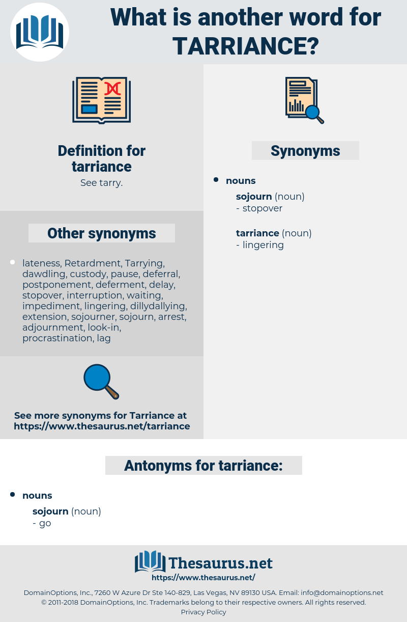 tarriance, synonym tarriance, another word for tarriance, words like tarriance, thesaurus tarriance